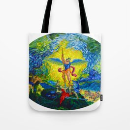 St. Michael Defeating the Devil (after Delacroix) Tote Bag