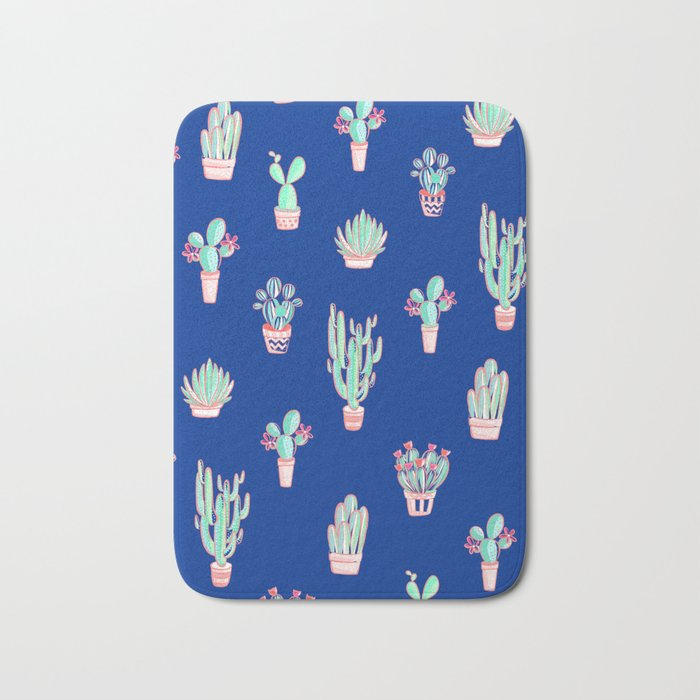 Little cactus pattern - Princess Blue Bath Mat