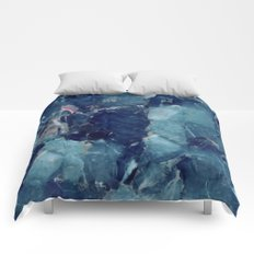 Blue marble texture Comforters