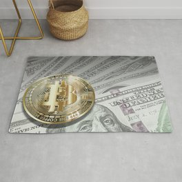 Bitcoin with dollar bills, cryptocurrency concept Rug