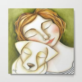 Dog Girl Puppy Love Original Artwork by Deb Harvey Metal Print