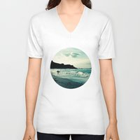 surf V-neck T-shirts featuring Surf by Hilary Upton