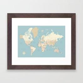 "Cream, brown and muted teal world map, ""Jett"" Framed Art Print"