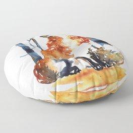 Red fox watercolor art Floor Pillow