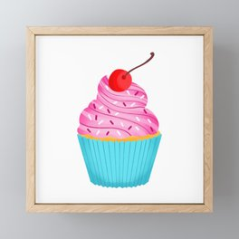 Pink Cupcake Framed Mini Art Print