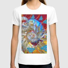SURREAL MODERN ART BLUE BUTTERFLIES ABSTRACT T-shirt
