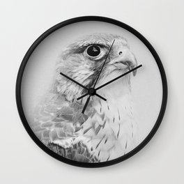 Hawk Portrait | Birds of Prey | Wildlife Photography | Black and White Wall Clock