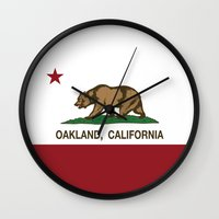 oakland Wall Clocks featuring Oakland California Republic Flag by NorCal