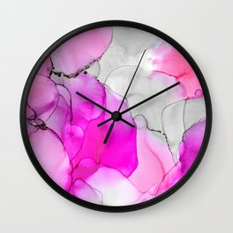 Happiness in Pink Wall Clock