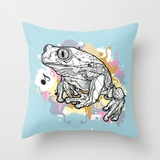 Melodic Frog Throw Pillow