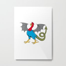 Basilisk Bat Wing Crowing Cartoon Metal Print
