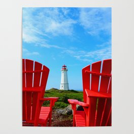Lighthouse and chairs in Red White and Blue Poster
