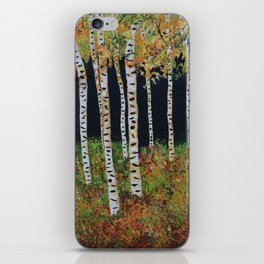 Aspen Birch Trees, Landscape Painting, Autumn Colors, Rustic Home Decor iPhone Skin