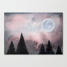 Bright Night Sky Watercolor Canvas Print