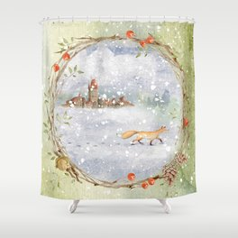 Christmas vintage fox Shower Curtain