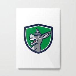 Donkey Head Shouting Crest Retro Metal Print