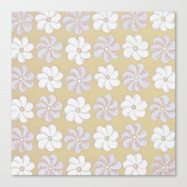 Floral design Yellow, light blue & Light Fuchsia Flowers Allover Print Canvas Print