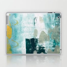 023.2: a vibrant abstract design in teal green and yellow by Alyssa Hamilton Art  Laptop & iPad Skin