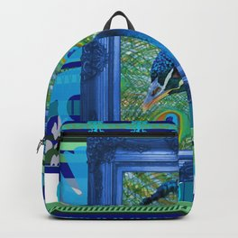 Peacock in Frame with Stripes pattern Backpack