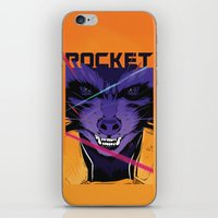 rocket raccoon iPhone & iPod Skins featuring Rocket Raccoon Guardians of the galaxy by W.B.