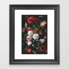 Jan Davidsz De Heem - Still Life With Flowers In A Glass Vase Framed Art Print