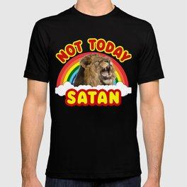 Funny Satan Roaring Lion Not Today Death Metal Rainbow T-shirt
