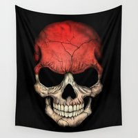 indonesia Wall Tapestries featuring Dark Skull with Flag of Indonesia by Jeff Bartels