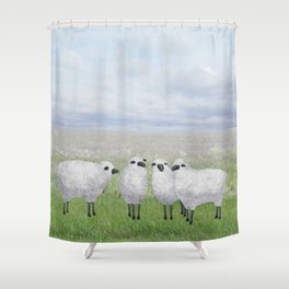 sheep in a field Shower Curtain