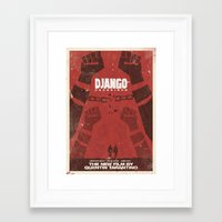 quentin tarantino Framed Art Prints featuring Django Unchained -  Quentin Tarantino Minimal Movie Poster by Stefanoreves