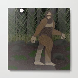 Bigfoot in the Forest Metal Print