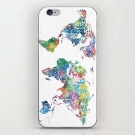world map mandala watercolor white iPhone Skin