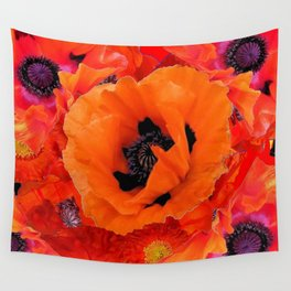 DECORATIVE ORANGE POPPY FLOWERS COMPOSITION Wall Tapestry