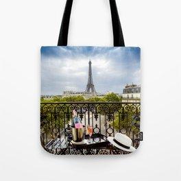 Eiffel Tower Paris Balcony View Tote Bag