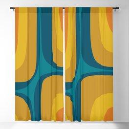 Retro Groove Mustard Teal - Minimalist Mid Century Abstract Pattern Blackout Curtain