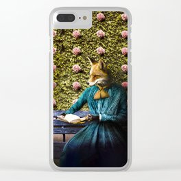 Fiona Fox reading in the garden Clear iPhone Case