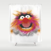 muppets Shower Curtains featuring Animal, The Muppets by KitschyPopShop