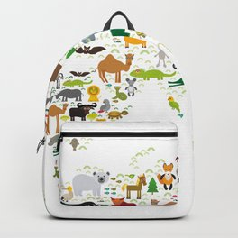 Cartoon animal world map for children and kids, Animals from all over the world on white background Backpack