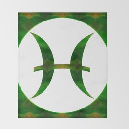 Pices Symbol And Heart Chakra Abstract Spiritual Art Throw Blanket