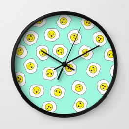 Sunny Side Up Pattern - Pale Aquamarine Wall Clock