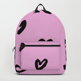 Hand Drawn Hearts on Pastel Pink Background Backpack