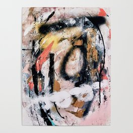 Lightning Soul: a vibrant colorful abstract acrylic, ink, and spray paint in gold, black, pink Poster