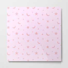 Monochrome pink moon and star pattern Metal Print