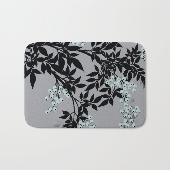 TREE BRANCHES BLACK AND GRAY WITH BLUE BERRIES Bath Mat