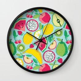 Paper cut geo fruits // aqua background multicoloured geometric fruits Wall Clock