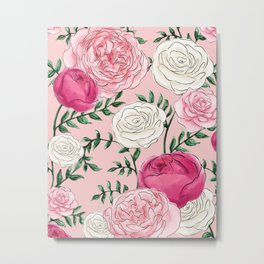 Rose Florals and Stems in Blush Metal Print