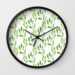 green watercolor vines Wall Clock
