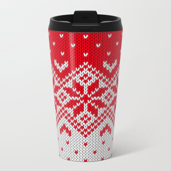 Winter knitted pattern 10 Metal Travel Mug