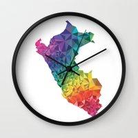 peru Wall Clocks featuring Peru colors by Romivavi