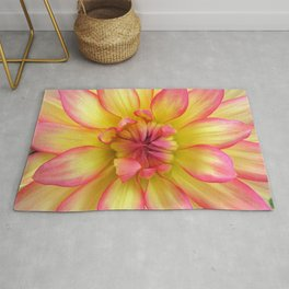 Pink and Yellow Dahlia Flower / Nature Macro Photography Rug
