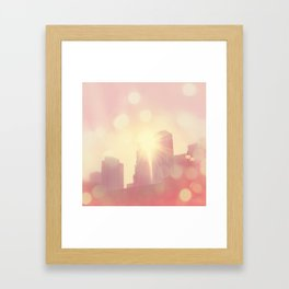 downtown Los Angeles skyline photograph. City of Lights Framed Art Print